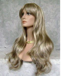 Accessories - NEW Long Wavy Ash Brown Highlighted Wig